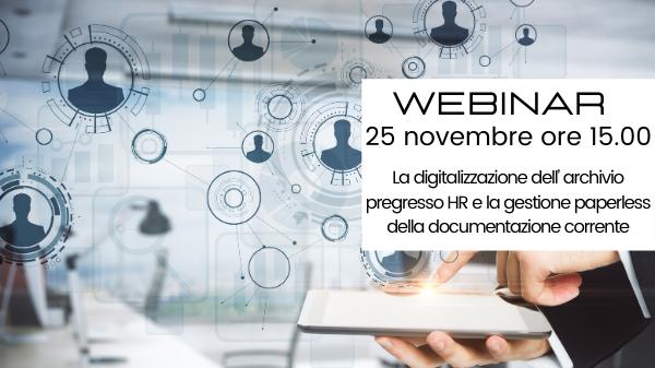 Webinar – La digitalizzazione dell'archivio pregresso HR e la gestione paperless della documentazione corrente